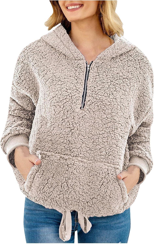 2021 New Winter Clothing Women's Fleece Hoodie Sweatshirt Long Sleeve Zipper Shaggy Fuzzy Plush Pullover Tops Coat