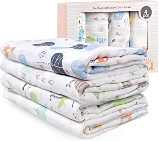 Viviland Baby Muslin Swaddle Blanket for Newborn Boys | 70% Bamboo 30% Cotton Receiving Blanket Swaddle Wrap with Gift Box | 4 Packs,47 X 47 inch,Elephant,Fox,Whale,Dinosaur