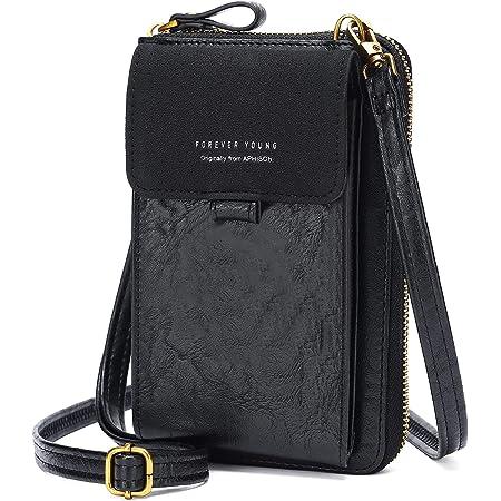 Damen Mini Handy Umhängetasche Kleine Handytasche PU-Leder Kleine Schultertasche Mädchen Frauen Crossbody Taschen RFID-Schutz Geldbörse für Mädchen(35024BLACK)