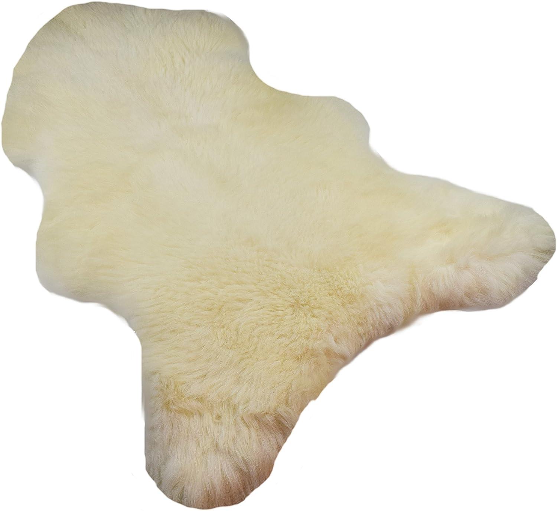 Naturasan Alfombra Piel de Cordero, de pelo largo de piel natural decoración - Alfombra, Euro, largo 100 -110 , blanco