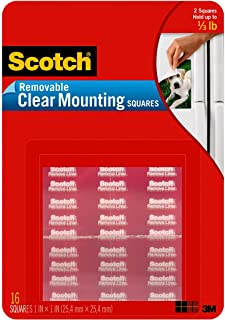 Scotch Removable Mounting Squares, 1-inch x 1-inch, Clear, 16-Squares (859-MED)