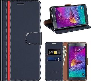 COODIO Funda Cuero Samsung Galaxy Note 4, Funda Samsung Note 4, Funda Cover Rugged Galaxy Note 4 Case con Magnético/Cartera/Soporte para Samsung Galaxy Note 4, Azul Oscuro/Rojo