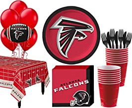 Party City Atlanta Falcons Super Party Supplies for 18 Guests, Include Plates, Napkins, Table Cover, and Balloons