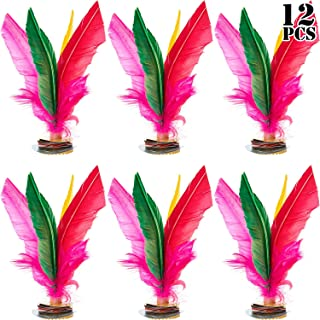12 Pieces Kick Shuttlecock Chinese Jianzi Colorful Feathers for Chinese School Football Training Foot Sports Outdoor Activities