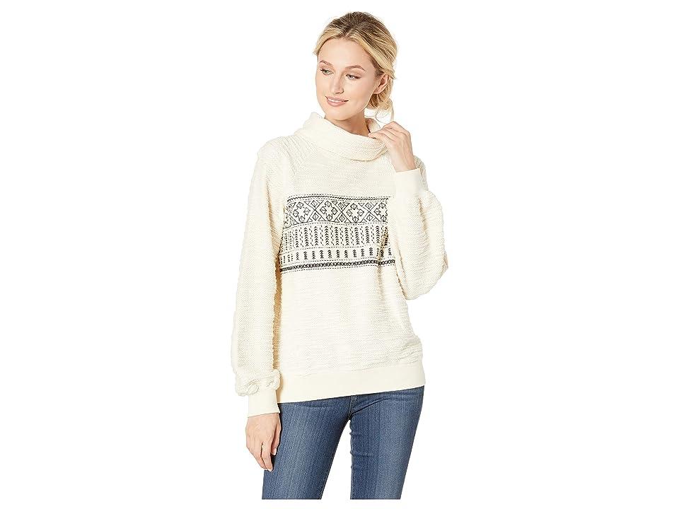 Lucky Brand Fairisle Turtleneck Pullover Sweatshirt (Marshmallow) Women's Sweatshirt, Blue