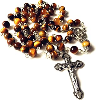 elegantmedical HANDMADE Tiger Eye Jade Rosary Beads Cross CRUCIFIX CATHOLIC NECKLACE Box