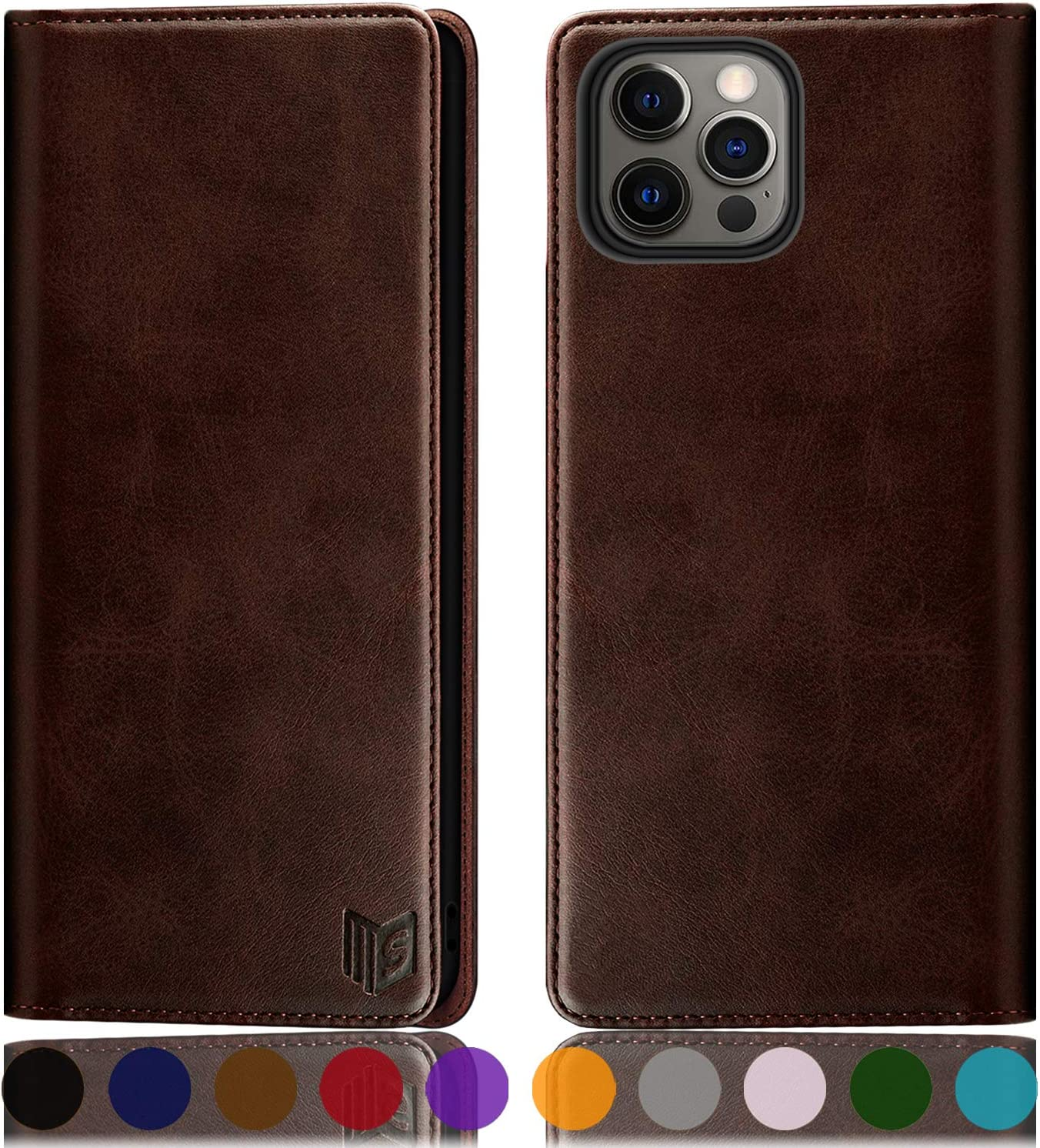 SUANPOT for iPhone 12 Pro Max Leather Wallet case with RFID Blocking Credit Card Holder, Flip Folio Book Magnetic PU Cell Phone Plus case for Apple 12 promax 5G Pocket case for Men Women 6.7 Brown