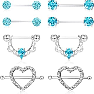 ORAZIO 4 Pairs 14G Stainless Steel Nipplerings Nipple Tongue Rings CZ Opal Barbell Body Piercing Jewelry