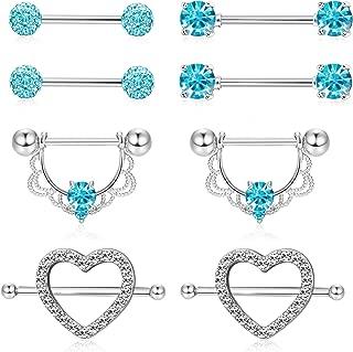ORAZIO 4 Pairs 14G Stainless Steel Nipplerings Nipple Tongue Rings CZ Opal Barbell Body Piercing Jewelry