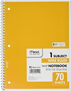 Mead Spiral Notebook 1-Subject, 70-Count, Wide Ruled, 8 Pack, Assorted Colors (ME-05510)