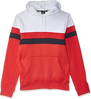 Nike Men's SB Hoodie Icon Stripes, Red(White/University Red/Obsidian/Obsidian100), Large