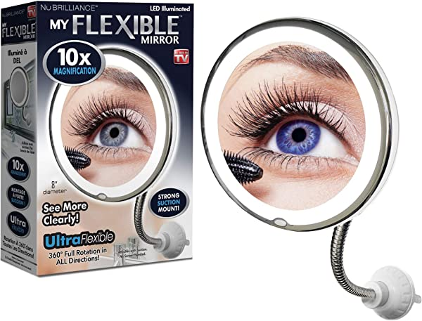 My Flexible Mirror 10x Magnification 8 Make Up Round Vanity Mirror For Home Bathroom Use With Super Strong Suction Cups As Seen On TV