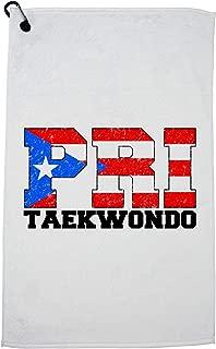 Hollywood Thread Olympic Taekwondo - Puerto Rico Golf Towel with Carabiner Clip