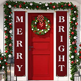 Aneco Christmas Decorations Banner Christmas Hanging Porch Sign Merry Christmas Bright Porch Sign Banner Red Xmas Welcome Christmas Outdoor Sign for Home Wall Door Decorations