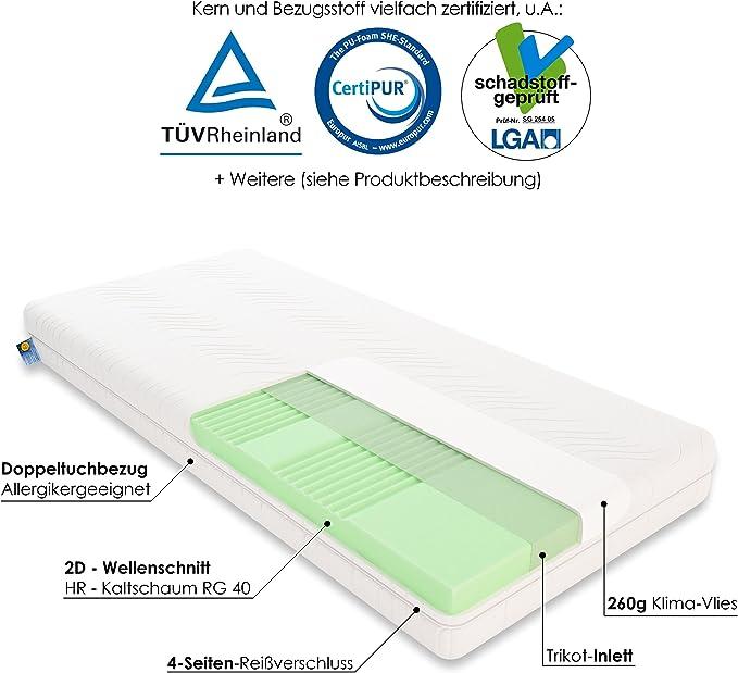 Amazon.de: Schlummerparadies® hochwertige Matratze 7-Zonen  HR-Kaltschaummatratze - Made in Germany