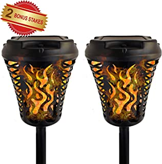 JARDLITE Solar Torch Lights with Bigger Panel, Garden Flickering Flame Tiki Torches, Waterproof Landscape Decoration Lighting, Outdoor Dusk to Dawn Auto ON/Off Path Light for Garden Patio Yard,2 Pack