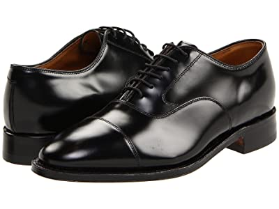 Johnston & Murphy Melton Classic Dress Cap Toe Oxford (Black Brushed Veal) Men