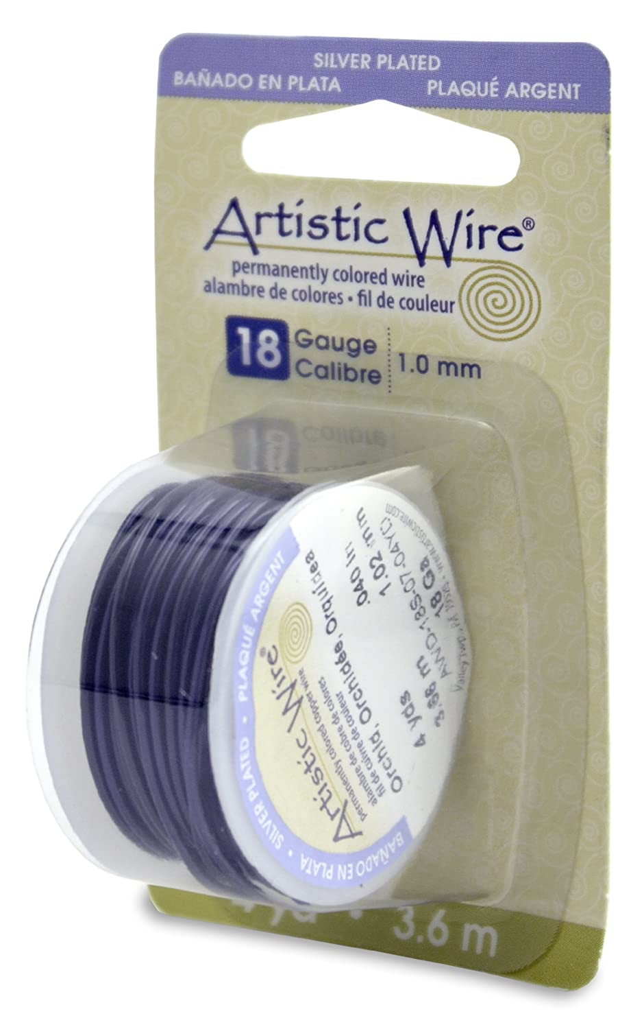 Beadalon Artistic Wire 18-Gauge Silver Plated Orchid Wire, 4-Yards
