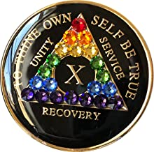 10 Year Black Rainbow Swarovski Crystal Tri-Plate AA Medallion Chip X