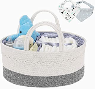 Magicfly Cotton Rope Baby Diaper Caddy Organizer with 2 Bibs, Portable Nursery Storage Bins for Newborn and Infant Essentials, Baby Shower Gift Basket, Diaper Basket Organizer, White+Grey