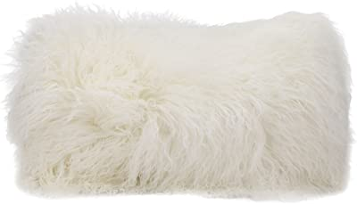 "Nourison Mina Victory Tibetan Sheepskin Mina Victory F7101 White Decorative Pillow, 14"" X 20"""