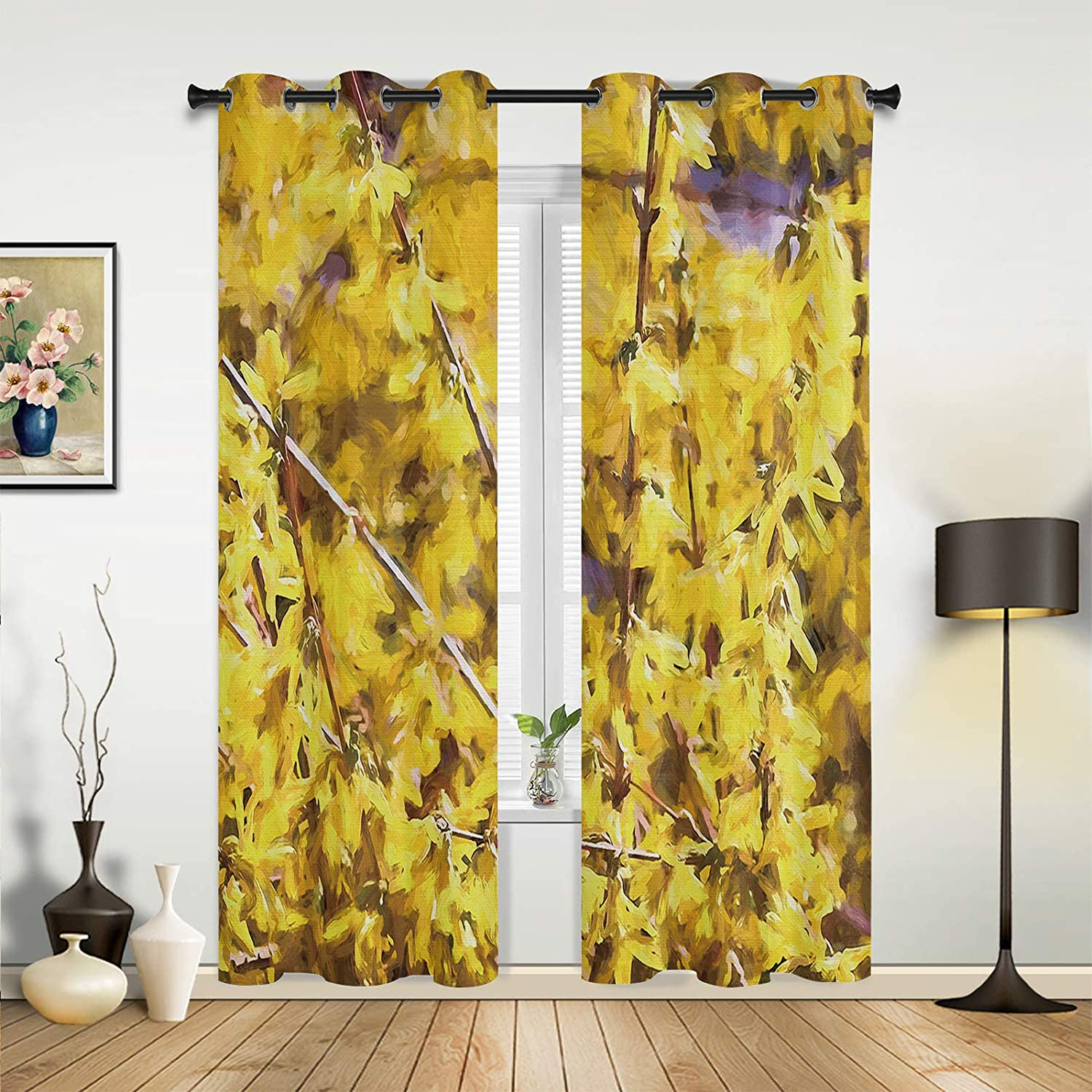 Window Curtains Drapes Panels Tulsa Mall Over item handling ☆ Spring Small Flower Yellow Bright