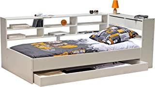 Weber Industries 37979 Lit Roller + Etagère+ Tiroir + Sommier Mélamine Blanc 192 x 95 x 28 cm