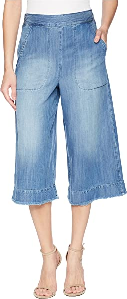 Cotton Twill Cropped Wide Leg Pant Chambray