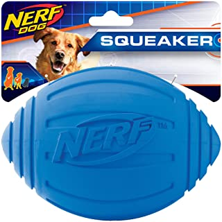 Nerf Dog Ridged Football Dog Toy with Interactive Squeaker, Lightweight, Durable and Water Resistant, 7 Inch Diameter for ...