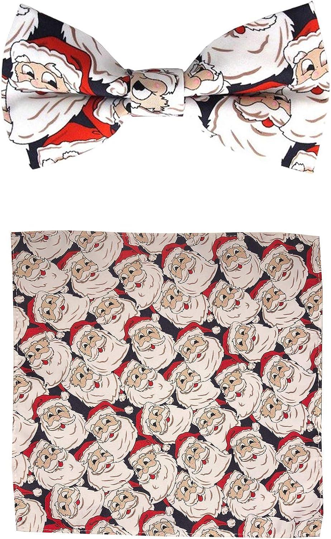Jacob Alexander Men's Jolly Santa Pre-Tied Clip-On Bow Tie and Pocket Square Set