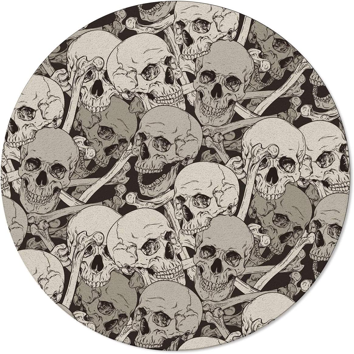 ARTSHOWING Super beauty product restock quality top Skulls Round Area Rug Dining Room Non-Slip Max 63% OFF Entryway
