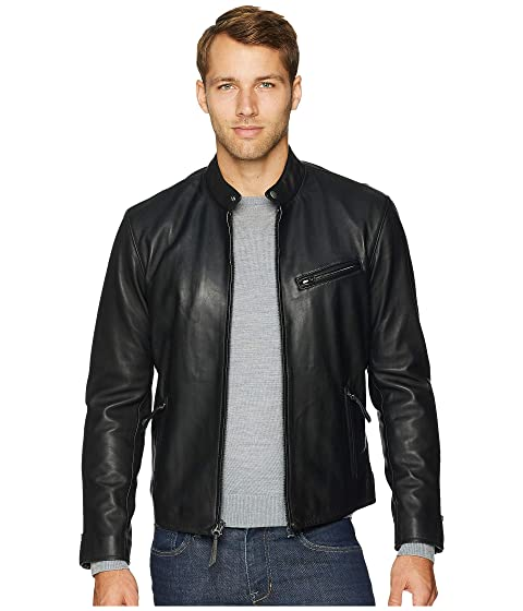 Men's Vintage Style Coats and Jackets Polo Ralph Lauren Cafe Racer Leather Jacket Polo Black Mens Coat $650.00 AT vintagedancer.com