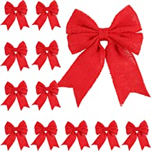 Tatuo 12 Pieces Christmas Burlap Bow Holiday Bow for Christmas Wreaths Tree Garland Bows Indoor and Outdoor Decoration