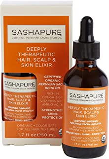 SASHAPURE Deeply Therapeutic Hair, Scalp & Skin Elixir 1.7 Ounce (50ml) Hair Treatment, Stimulate Hair Growth, Hair Oil