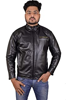 TARAKSHU Men's Black PU Faux Leather Jacket (Medium)