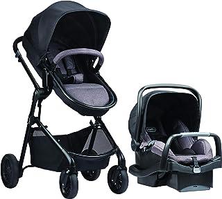 Evenflo Pivot Modular Travel System, Lightweight Stroller, Sleek & Versatile, Easy Infant Car Seat Transfer, Oversized Storage Basket, Travel Stroller, 3-Panel Canopy, Casual Gray
