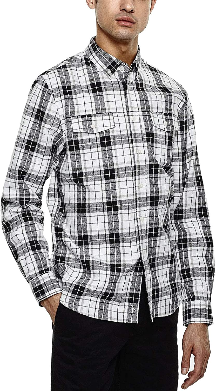 Saturday NYC Mens Javas Flannel Plaid Beauty products Button Shirt Long-awaited Fit Down Slim