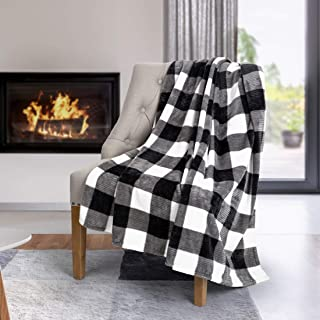 Safdie & Co. Flannel Printed Ribbed 50x60 White Plaid Ultra Soft Throw, Black - 65903.Z.06