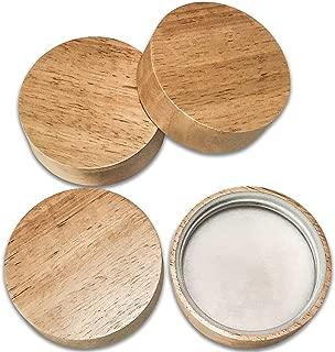 Wooden Mason Jar Lids - 4 Mason Jar Lids Wide Mouth (Rubberwood) - Custom Molded Screw Top Mason Jar Lid Set Compatible Canning Lids for Kerr and Ball Jar Lids by Kitchen Charisma
