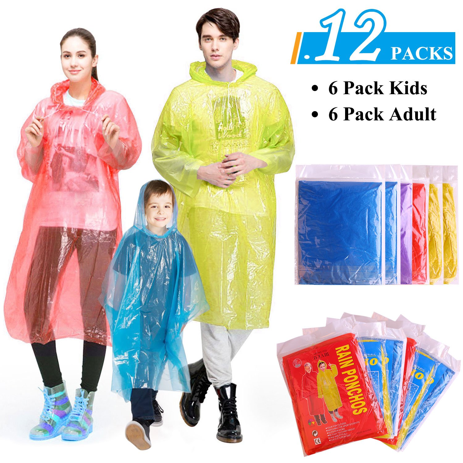 Ginmic Ponchos Family Pack Disposable