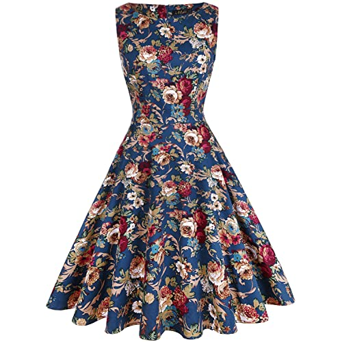 1c5cdbd05f0 ihot Women s Vintage 1950s Classy Rockabilly Retro Floral Pattern Print  Cocktail Evening Swing Party Dress