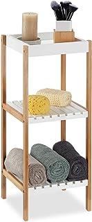 Relaxdays Estantería de baño, Tres estantes Abiertos, MDF, Sin Taladro, Bambú, Marrón y Blanco, 72x30x29 cm, 72 x 30 x 29 cm