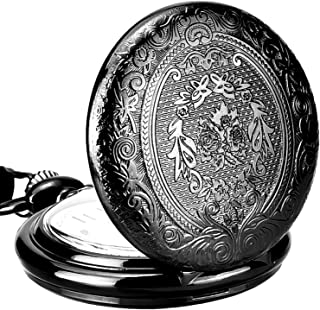 Mudder Vintage Stainless Steel Quartz Pocket Watch Chain (Black)