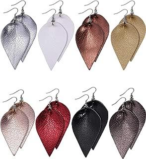 8 Pairs Faux Leather Earrings Set Leather Leaf Earrings Petal Dangle Drop Earrings for Women Girls