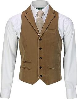 Xposed Mens Soft Corduroy Blazer Coat Vintage Retro Tailored Waistcoat UK[CWC-MATTHEW-CREAM-36,Waistcoat-Collar-Tan]