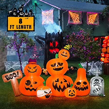 Cllayees 5 FT Halloween Inflatable Ghosts with Pumpkin Blow up Lighted Ghost Decoration with LED Lights for Yard Party Shopping Mall and Indoor Outdoor Halloween Decor