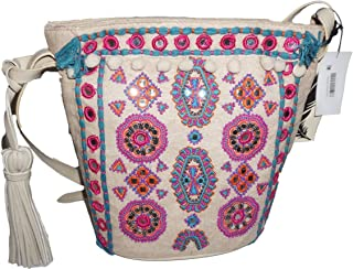 Angel by L. Martino Womens Lily Beaded Crossbody Bucket Handbag Pink Medium
