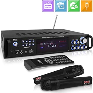 4 Channel Home Audio Power Amplifier - 3000 Watt Stereo Receiver w/ Speaker Selector, AM FM Radio, USB, Headphone, 2 Wireless Mics for Karaoke, Great for Home Entertainment System - Pyle PWMA3003T