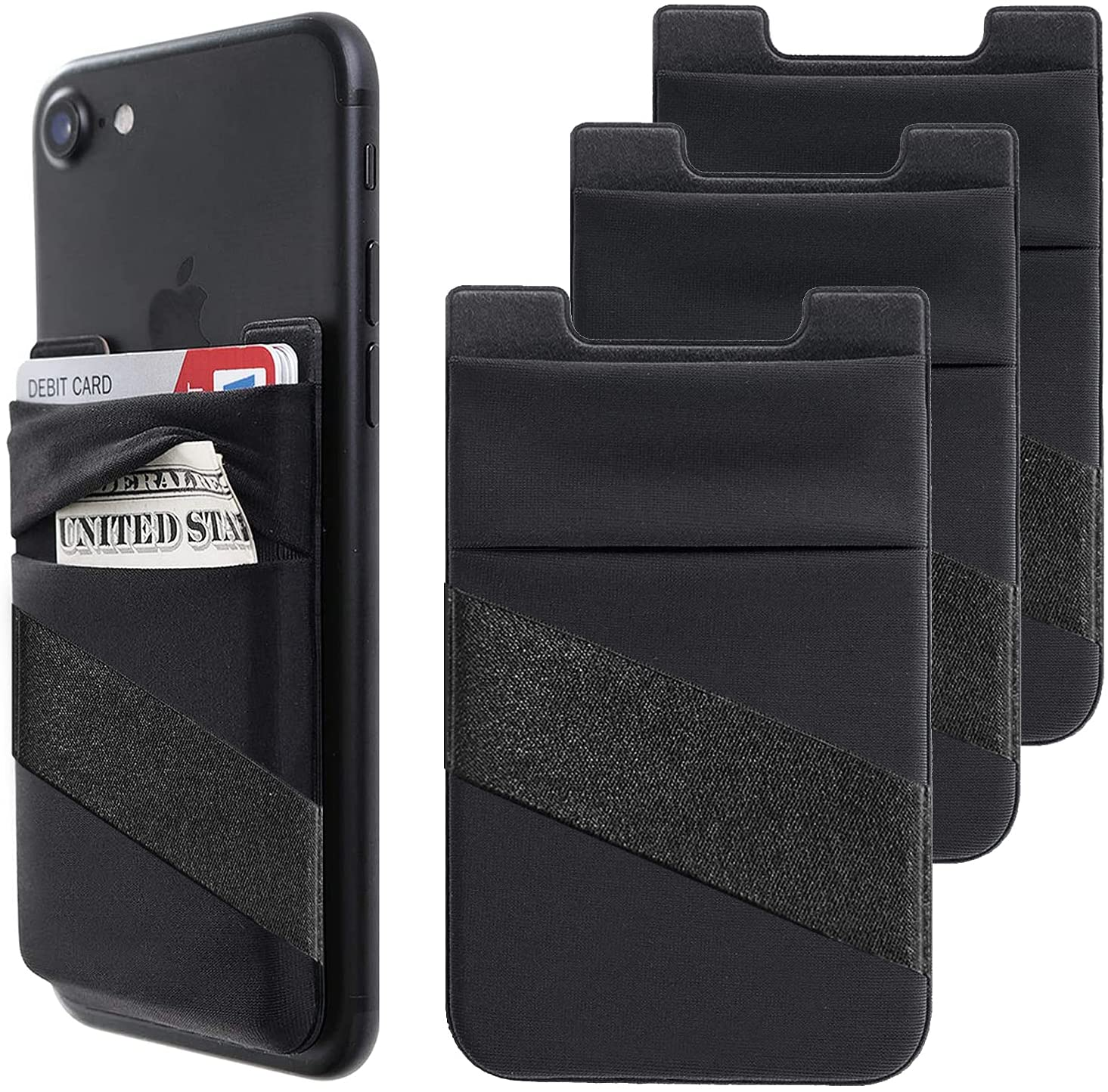 Phone Card Holder, Phone Wallet Stick On with Finger Strap Stretchy Card Holder for Back of Phone Credit Card Holder for Phone Case Compatible with Most of Cell Phone (iPhone, Samsung) - 3Pack Black