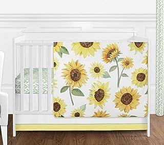 Sweet Jojo Designs Yellow, Green and White Sunflower Boho Floral Baby Girl Nursery Crib Bedding Set - 4 Pieces - Farmhouse...